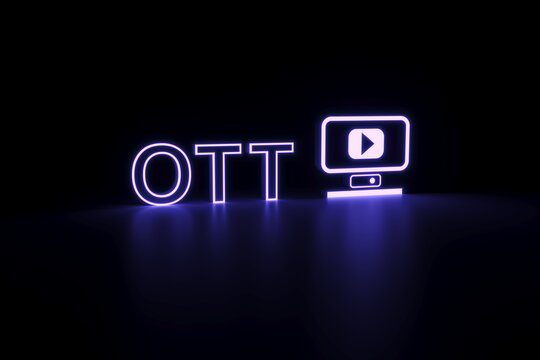 OTT neon concept self illumination background 3D illustration