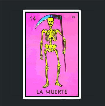 La Muerte Death Loteria Mexican Lottery Bingo Funny Design Premium new design vector illustrator