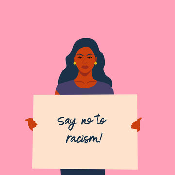 A black skin girl holds a poster with an anti-racist slogan