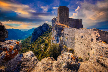 Abandoned Cathar Castle Peyrepertuse, a medieval fortress in the Languedoc Roussillon region of France.  Wall mural