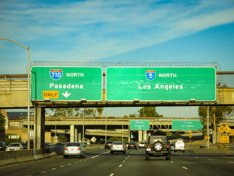 Pasadena Freeway into downtown Los Angeles, California. Not a rush hour.
