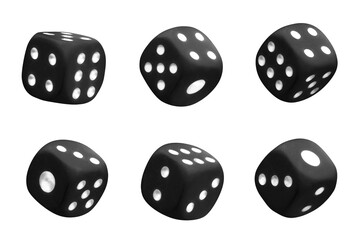 Collection of black dices, isolated on white background