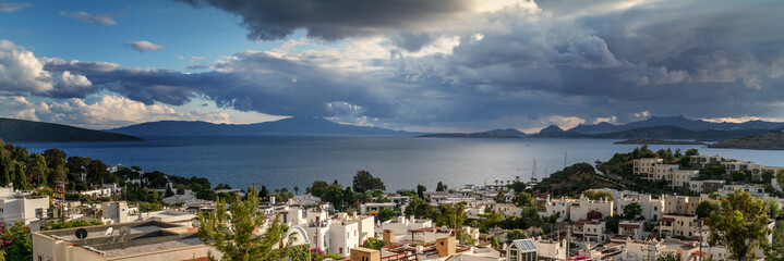 View of Bodrum and the sea bay, travel to Turkey. Image panorama banner format Wall mural