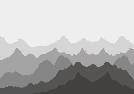 Grey mountains silhouettes on the white background. Mountains illustration.