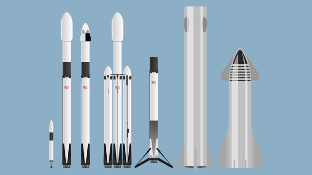 SpaceX Rocket Set Falcon 1 Falcon 9 Starship