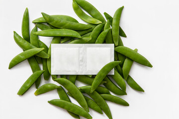 salt take away bags with beans on white background