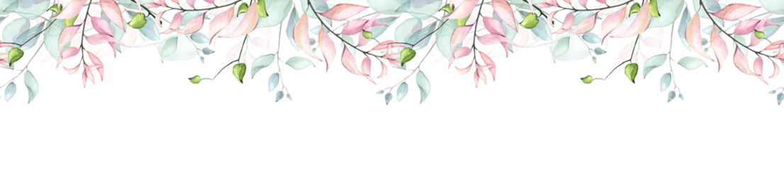 Keuken foto achterwand Kunstmatig Watercolor hand painted pink, turquoise and green eucalyptus and leaves delicate seamless border. Isolated floral arrangement on white background