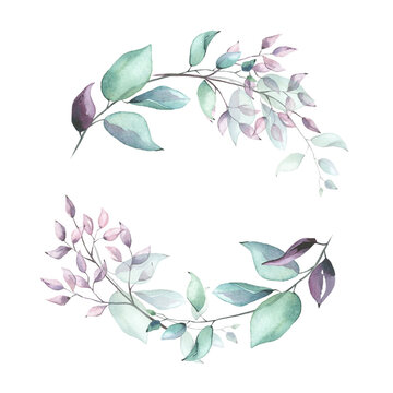 Watercolor hand painted violet, pink, turquoise and green leaves delicate wreath. Isolated floral arrangement on white background