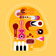 Human head shape design consisting with a different musical instruments vector illustration. Shades of yellow.