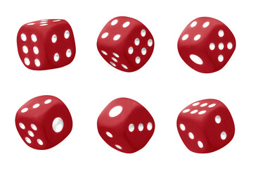Red dices set, isolated on white background