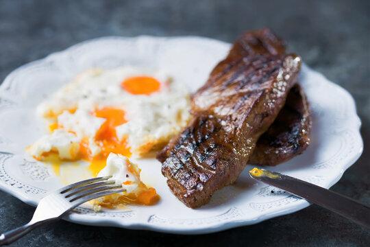 rustic american australian steak and eggs breakfast