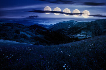 summer landscape in mountains at night. amazing scenery with herbs in fields on rolling hills in full moon light. fake news concept