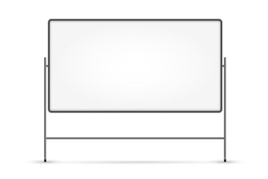 Blank white board. Isolated empty business presentation white board on stand. Vector blank whiteboard frame with copy space. Education and seminar concept