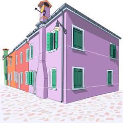 Colorful houses on the Burano island.