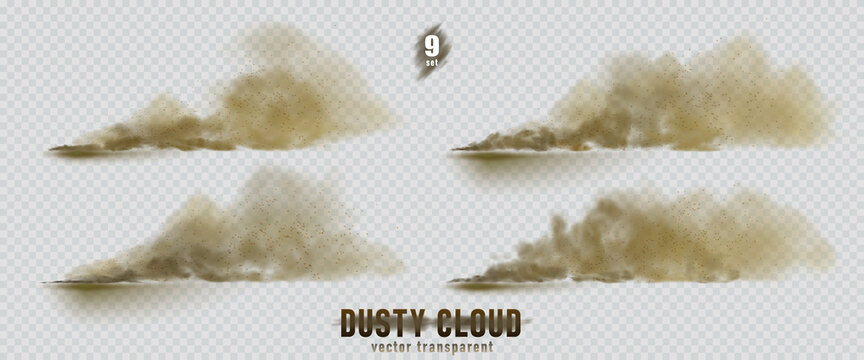 Dusty cloud or broun dry sand flying with a gust of wind, sandstorm, explosion realistic texture with small particles or grains of sand illustration 9 set isolated on transparent background. Vector.