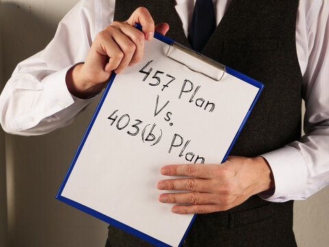 457 Plan Vs. 403b Plan is shown on the conceptual business photo