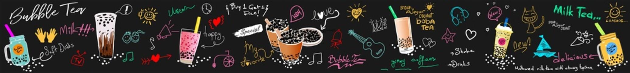 Bubble milk tea, Pearl milk tea , Different sorts of Boba. Yummy drinks. Ads with delicious tapioca. Bubble milk tea Chalk Board Shop. Retro Menu Restaurant poster. Vector.