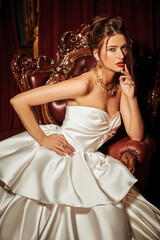 bride in luxurious white dress