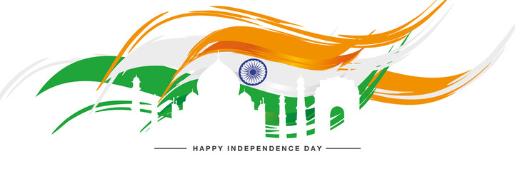 Independence day India heritage silhouette abstract flag white background banner