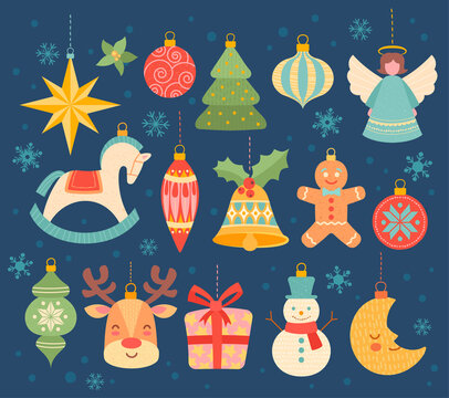 Large collection of different colorful festive Christmas ornaments for an Xmas tree over a cool blue winter background with snowflakes, colored vector illustration