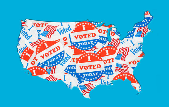 Many voting stickers given to US voters in Presidential election formed in the shape of the USA to illustrate vote rights