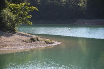 Turquoise water lake in summer season