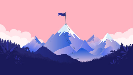 Mountaintop goal - Path to mountain summit with snow and flag on top. Coral coloured background, forest and clouds. Business goals, achievement and challenge concept. Vector illustration.