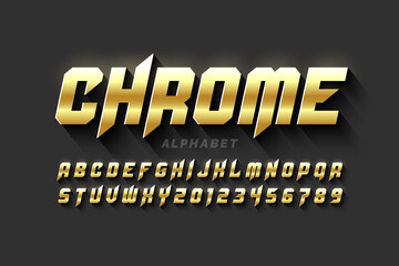 Gold matt chrome style font, alphabet letters and numbers