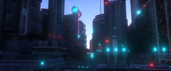 Neon urban future. Futuristic city against blue sunset sky. Wallpaper in a cyberpunk style. Industrial landscape with bright neon lights and huge futuristic buildings. 3D illustration. Fotomurales