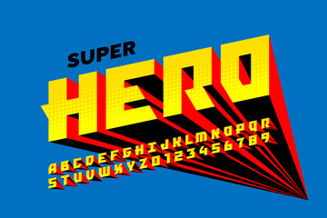 Superhero comics style font design, alphabet letters and numbers