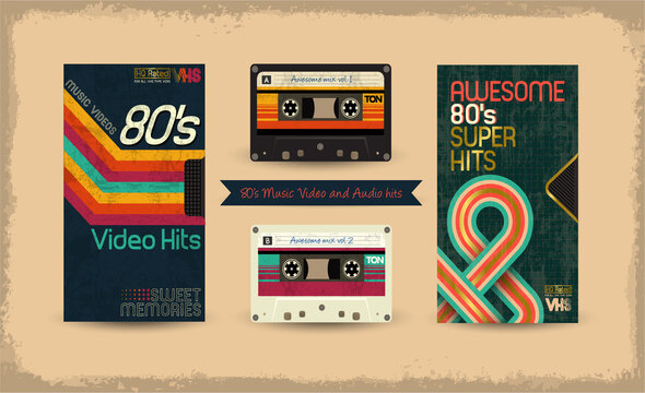 VHS tape. Vector beta tape and cassette box old graphic in 80s style. Awesome super video hits. VHS effect. 80's and 90's style. Retro vintage cover. Eighties letters. Easy editable design template.
