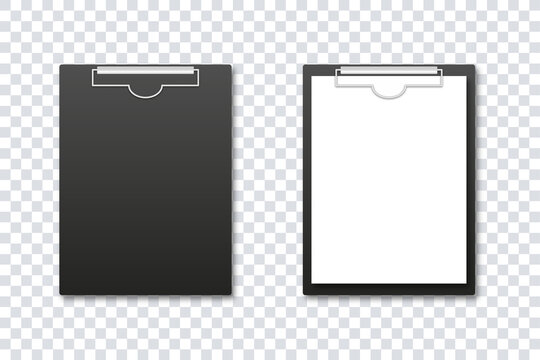 Clipboard mockup. Vector isolated illustration. Office folder. Notepad information board realistic design vector illustration. Realistic notebook template with paper and without. Stock vector.