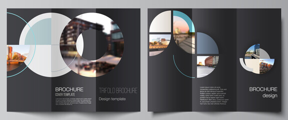Vector layouts of covers design template for trifold brochure, flyer layout, book design, brochure cover, advertising. Background with abstract circle round banner. Corporate business concept template
