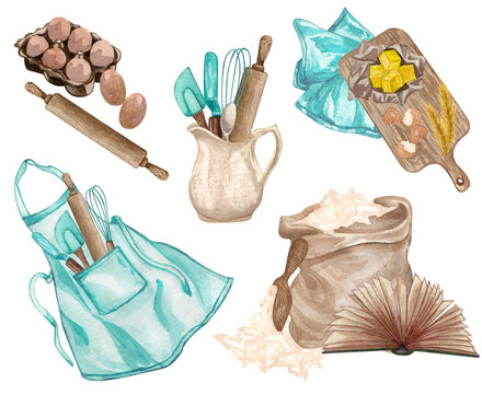 Baking watercolor set with kitchen utensils, chopping board, butter,  rolling pin, flour, eggs, potholders, apron, recipes book, whisk on white background.  Cooking clip art.  Baking illustration