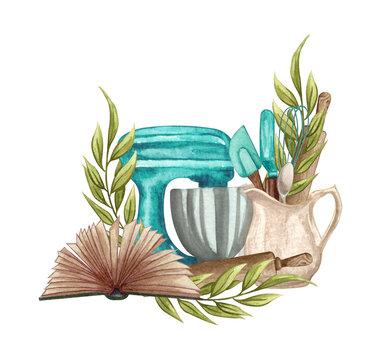 Baking watercolor illustration with kitchen utensils, blue mixer, recepies book on white background. Baking logo.