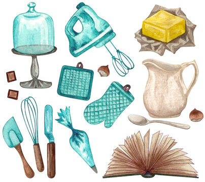 Baking watercolor set with kitchen utensils, jug, butter,  whisk, mixer, potholders, recipes book, cake stand on white background. Hand drawn Cooking clip art.  Baking concept