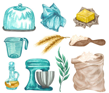 Baking watercolor set with kitchen utensils, wheat, butter,  vanilla extract, mixer, flour bag, kitchen towel, cake stand on white background. Hand drawn Cooking clip art.  Baking concept.