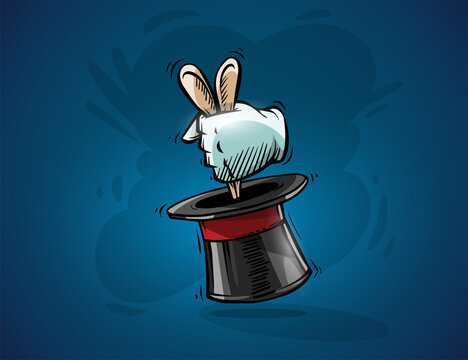 Magical focus trick hand of magician gets hare rabbit from hat. Vector Illustration
