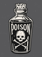 Vintage hand drawn bottle of poison vector illustration.