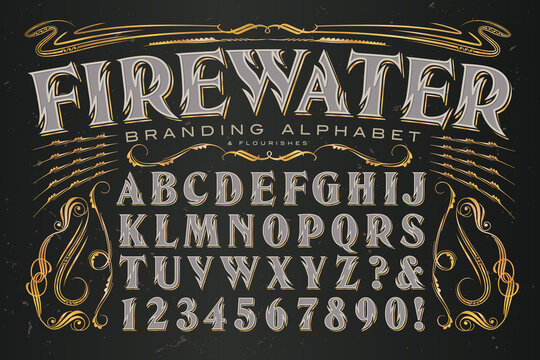 Firewater Branding Alphabet is a Heavily Stylized Serif Capitals Font with Zig Zag Lines Reminiscent of Flames; Ideal Set of Graphics and Letters for Alcohol Branding.