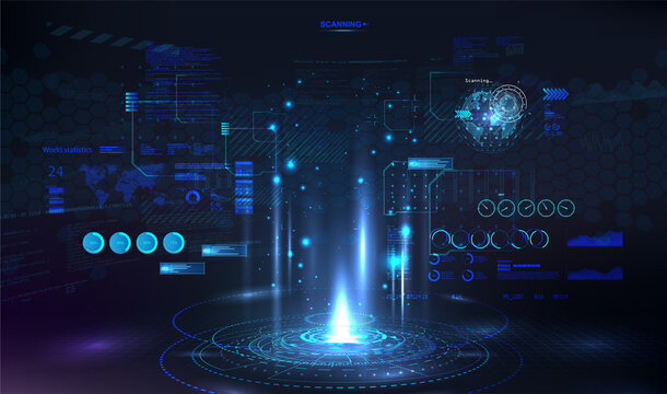 Circle presentation podium template for UI, UX, KIT, GUI. Futuristic portal with HUD interface elements. Podium for show your product. Concept future and cyberpunk. Vector illustration VR presentation