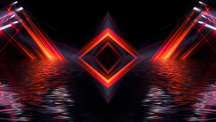 Fotomurales - Dark neon background with rays and liquid, flowing lines. Night view, reflection in the water of neon light. Abstract dark bright red neon. 3d illustration