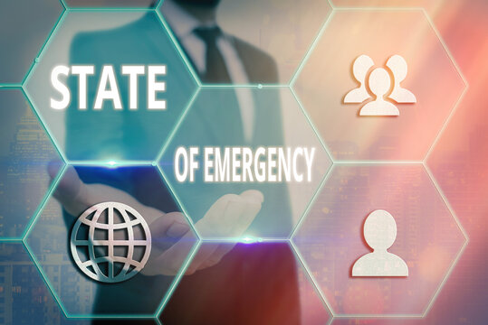 Handwriting text writing State Of Emergency. Conceptual photo acknowledging an extreme condition affecting at a national level Grids and different set up of the icons latest digital technology concept