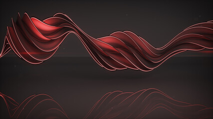 Light emitting red twisted spiral shape 3D rendering