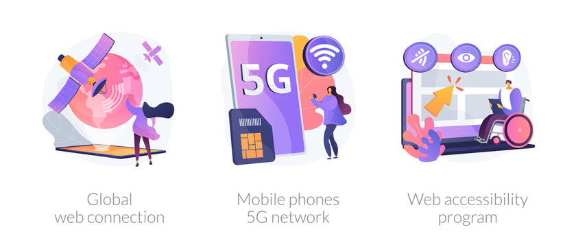 Global network communication abstract concept vector illustration set. Global web connection, mobile phones 5G network, web accessibility program, satellite, GPS technology internet abstract metaphor.
