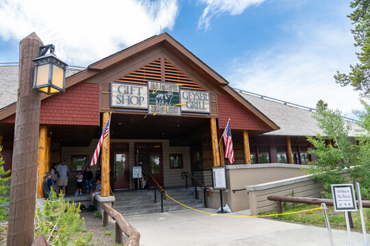 Yellowstone National Park, Wyoming - June 27, 2020: The Old Faithful Snow Lodge gift shop and Geyser Grill building