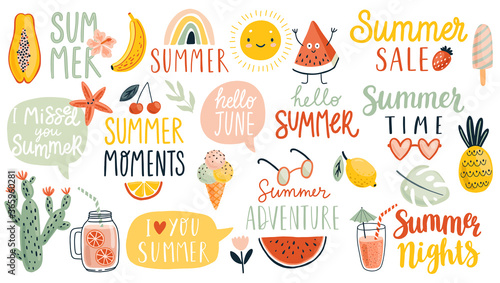 Wall mural Summer hand drawn Lettering calligraphyc set. Hello Summer, summer time, food, drinks, fruits and other elements.