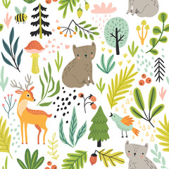 Wall Mural - Seamless Forest pattern with wild animals, plants, trees and other elements. Cute hand drawn background.