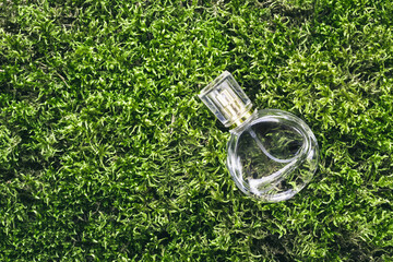 Perfume bottle on beautiful moss background. Nature fragrance beauty concept
