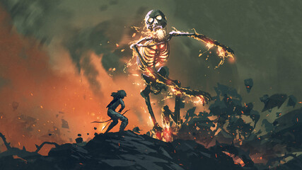 man with a bow face to face with a flaming skeleton, digital art style, illustration painting